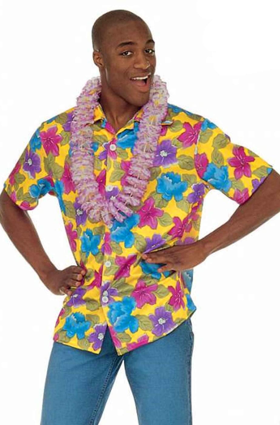 Camicia hawaiana adulto gialla a fiori