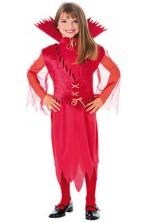 Costume Halloween Bambina Diavola Diavolessa Diavoletta con collare