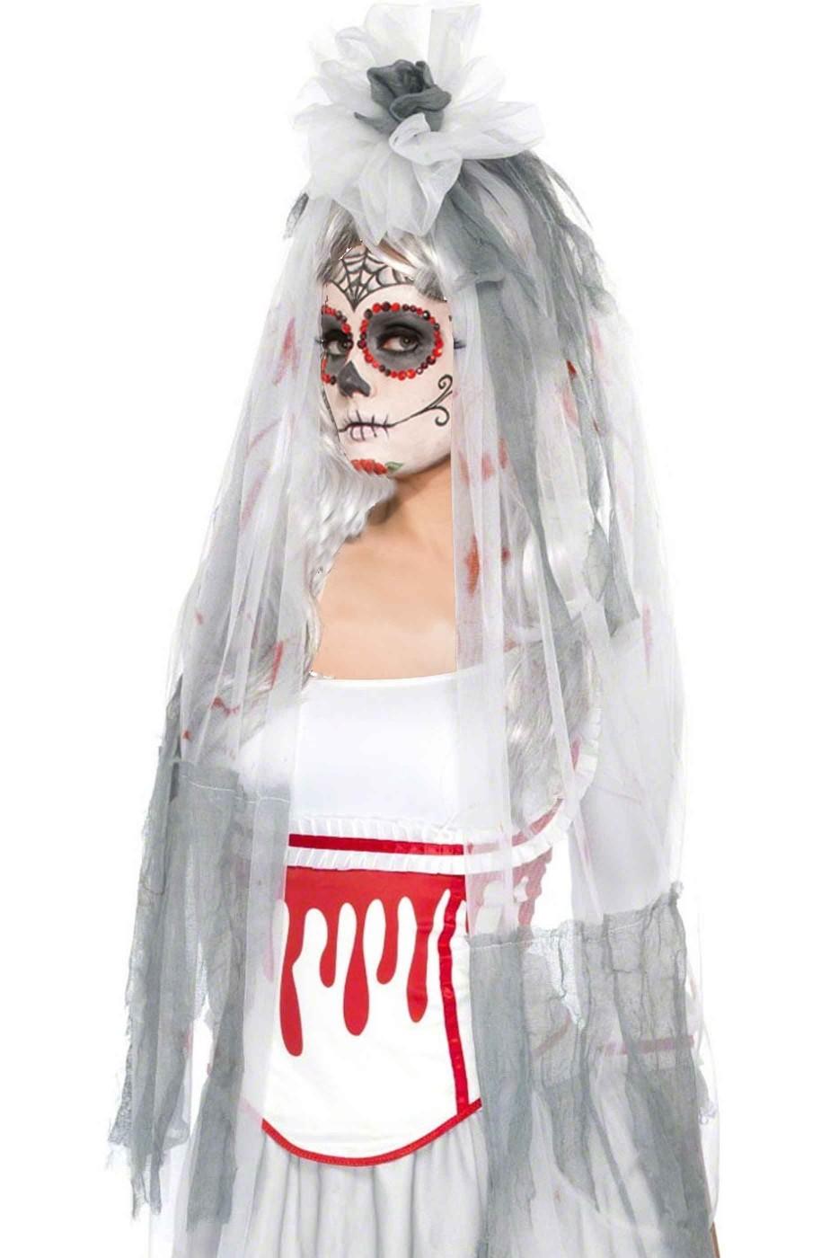 Cappello velo sposa insanguinato halloween