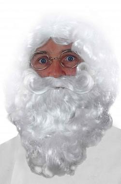 Trucco: Barba finta da Babbo Natale bianca riccia lunga circa 27 cm