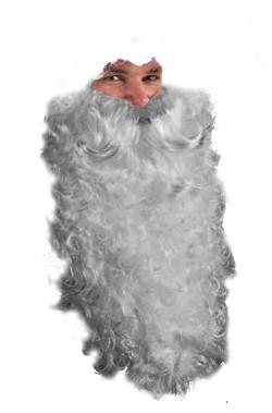Trucco: Barba finta lunga grigia da Babbo Natale cm 40