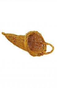 Cestino di vimini a cornucopia oro 15cm