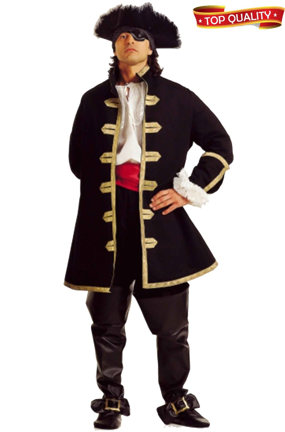 Adulto Uomo Mare Scuro MASCALZONE Nero Barba Pirata Costume Costume Std-XL