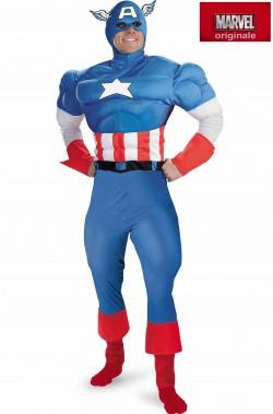 Costume Capitan America Adulto con Muscoli imbottiti Comics