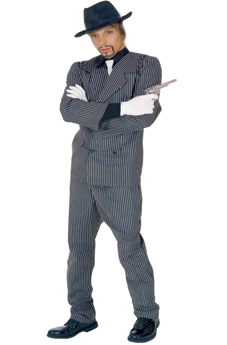 Costume da Gangster adulto gessato largo bianco nero anni 20 Al Capone 648131f9afd4