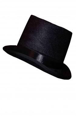 Cilindro in floccato nero lucido simile al velluto basso