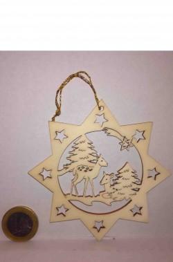 Decorazione natalizia stella cometa in legno intarsiata cerbiatti