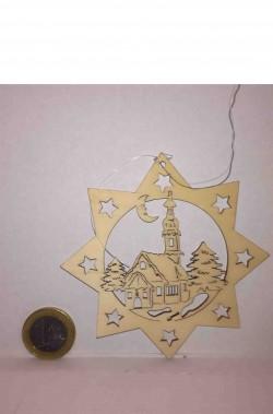 Decorazione natalizia stella cometa in legno intarsiata chiesa