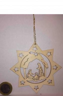 Decorazione natalizia stella cometa in legno intarsiata nativita