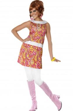 Costume donna psichedelico anni 60 multicolor