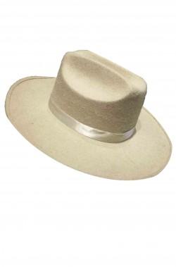 Cappello Cowboy adulto Buffalo Bill tipo Stetson bianco panna