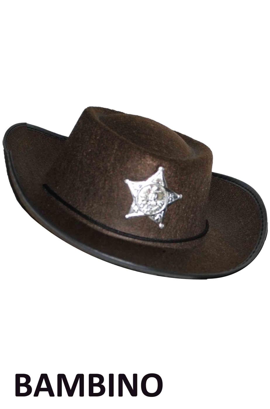 Cappello Cowboy marrone floccato bambino