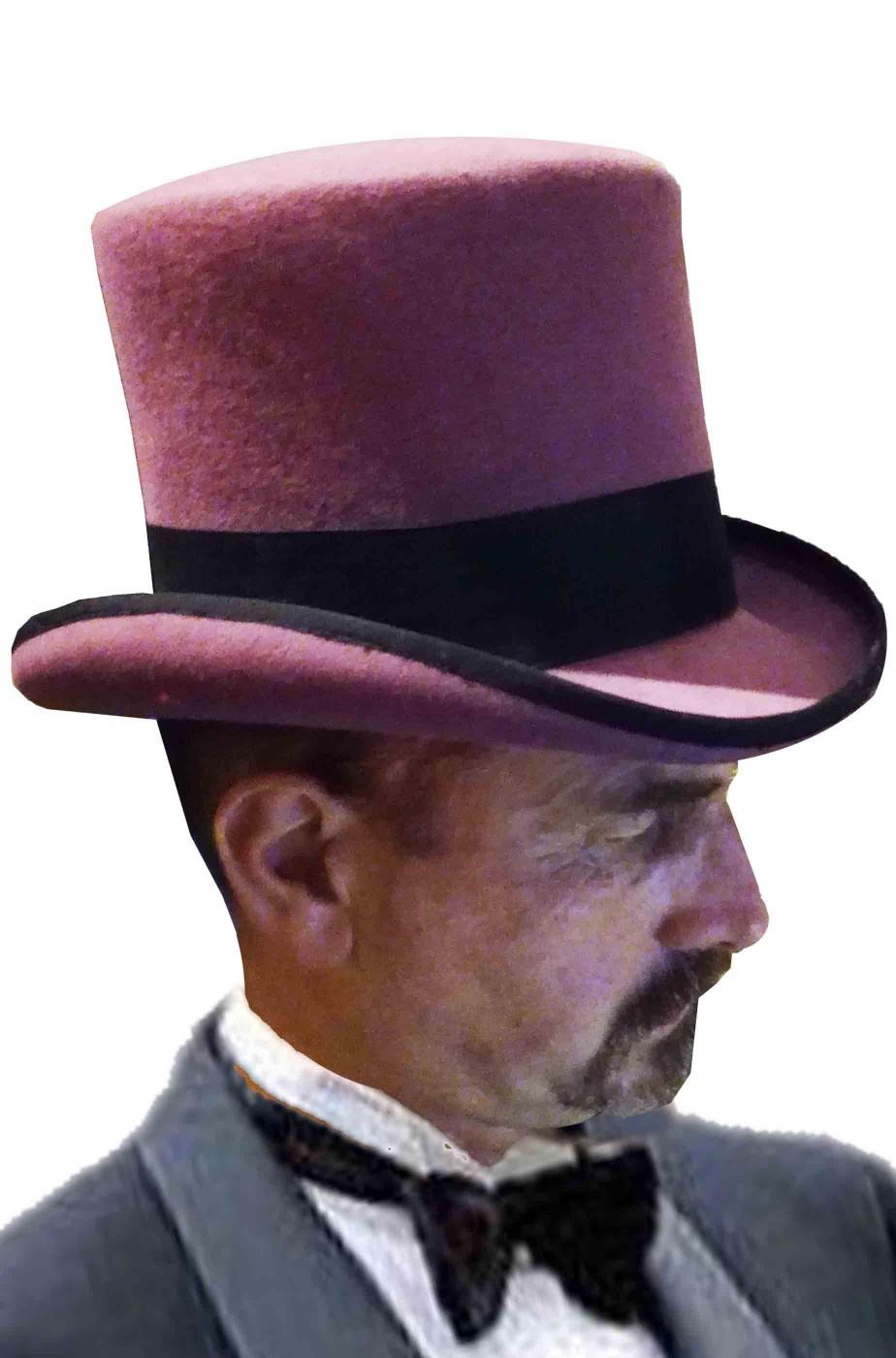 Cappello a cilindro adulto viola sartoriale con piccole macchie