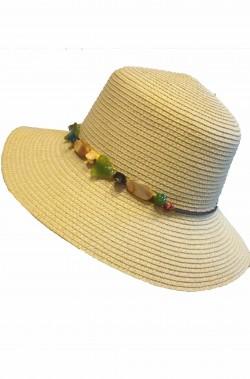 Cappello donna a larghe falde anni 60 70 in paglia beige