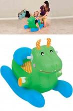 Cavallo a dondolo drago gonfiabile con schienale verde 86x43x63cm
