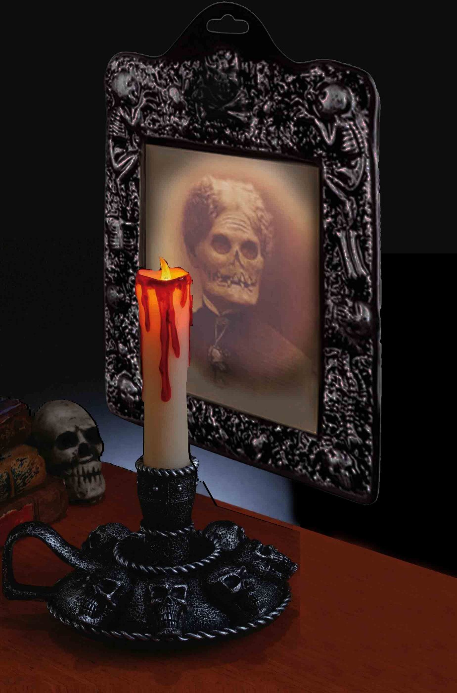 Set decorazioni Halloween da interno candelabro e vecchia morta