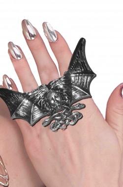 Anello gotico a pipistrello tre dita con viso e serpenti