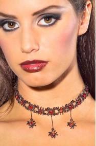 Collana Gotica Vampira Strega con gioielli a forma di ragni rossi