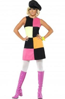 Costume donna sexy Anni 60 a scacchi neri rosa gialli