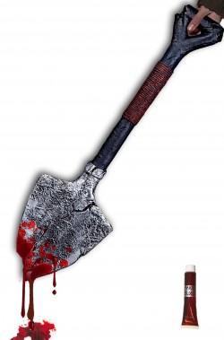 Vanga da becchino in schiuma 60 cm e sangue finto
