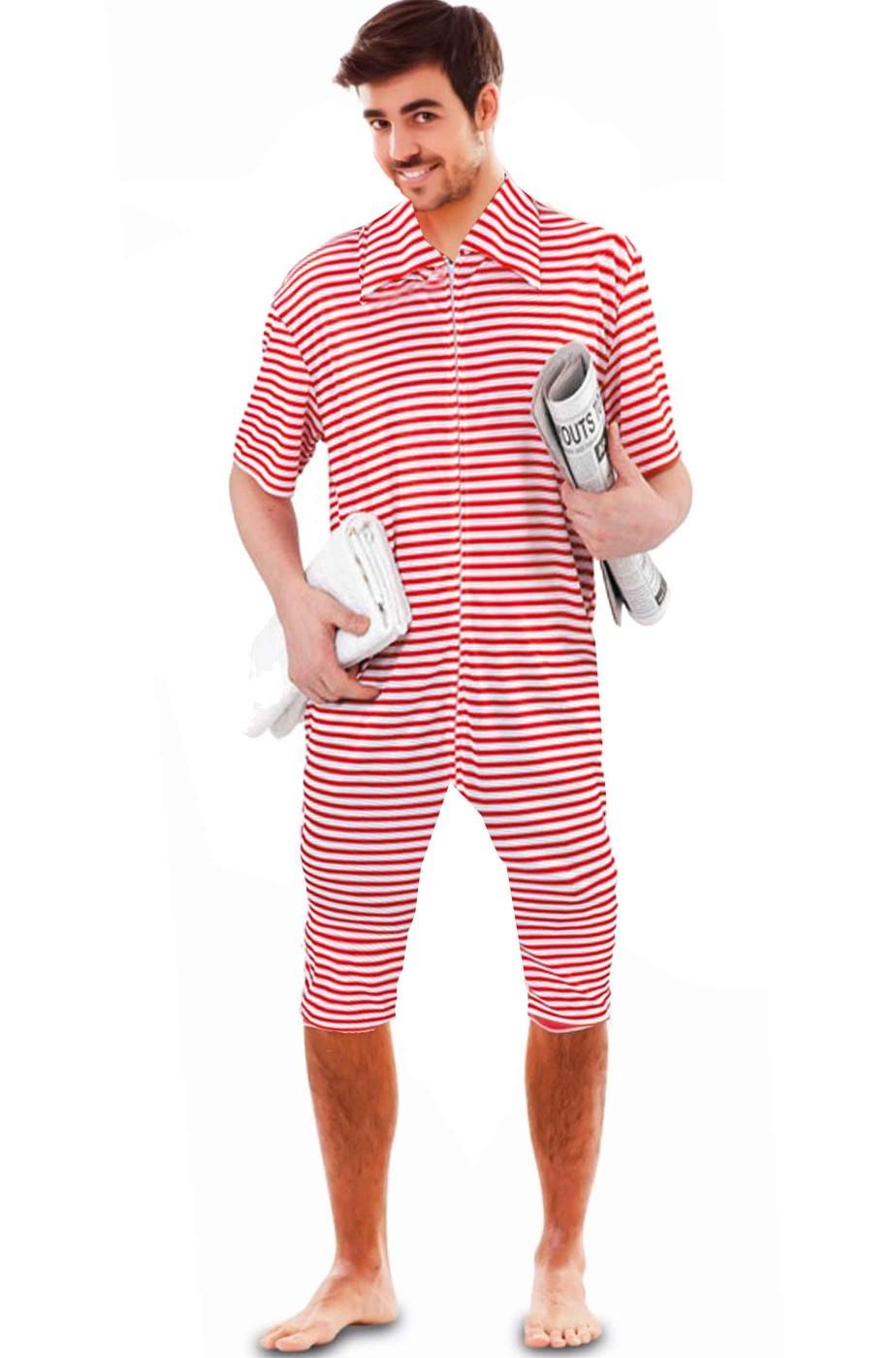 Costume da bagno anni 20 uomo forzuto a righe rosse