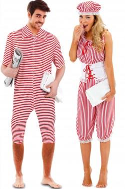 Coppia di costumi di carnevale costumi da bagno anni 20 a righe rosse