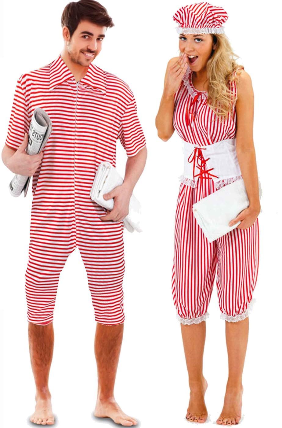 acquisto economico b7b53 f1ba5 Coppia di costumi di carnevale costumi da bagno anni 20 a righe rosse