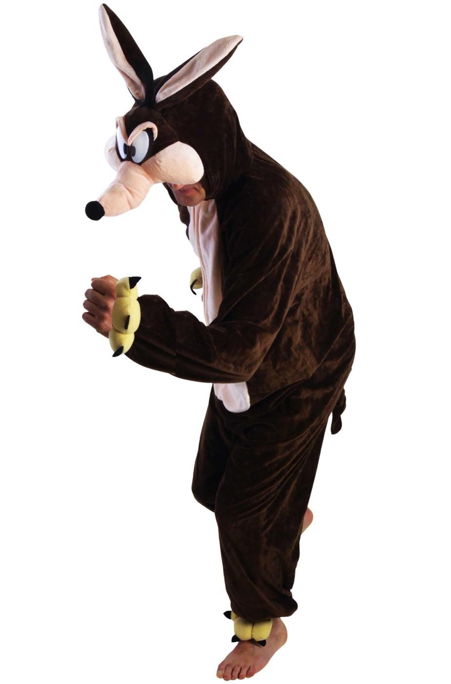 Costume di wil o willi il coyote da adulto mascotte pelouche morbido