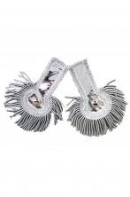 Controspalline mostrine militari storiche nappine a frange color argento