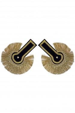 Controspalline mostrine militari nappine nere a frange oro