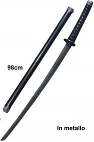 Spada decorativa katana in metallo ninja samurai lama nera