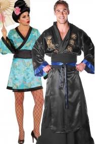 Coppia di costumi di carnevale adulto samurai e geisha giapponesi