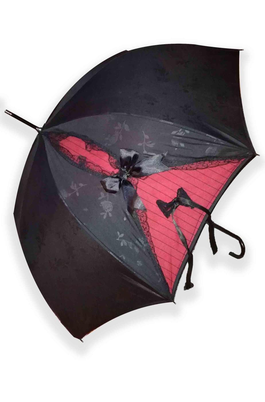 Ombrello parasole gotico dark nero e rosso sangue con rose