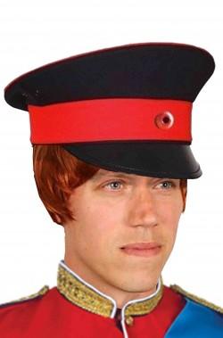 Cappello uniforme russa adulto nero con fascia rossa