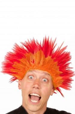 Parrucca rossa e gialla sfumata per riprodurre le fiamme