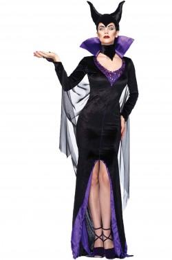 Costume Maleficent Malefica nero lungo elegante