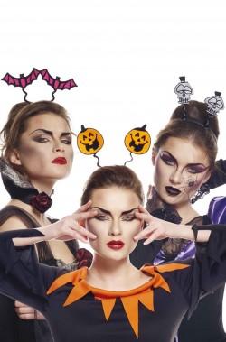 Set di tre cerchietti da testa per Halloween zucche, teschi, pipistrelli