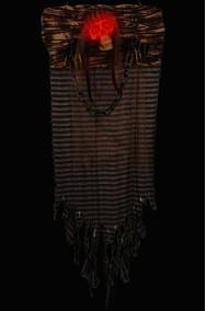 Allestimento Halloween decorazione Pirata Scheletro con occhi luminosi da appendere cm 45x120