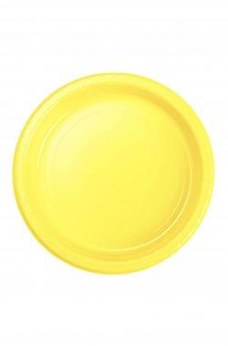 Yellow Party piatti di plastica da dessert gialli (50 piatti, 17cm)
