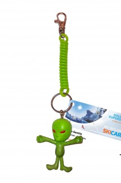 Porta skipass o portachiavi Halloween con alieno verde
