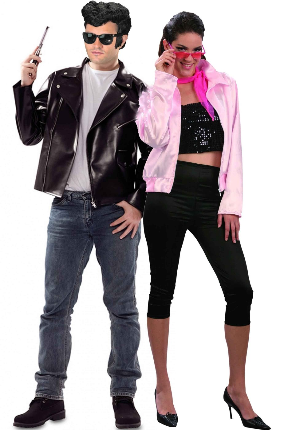 Coppia di costumi Grease adulto T Bird e Pink Lady