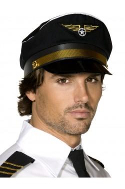 Cappello da pilota comandante da aereo nero