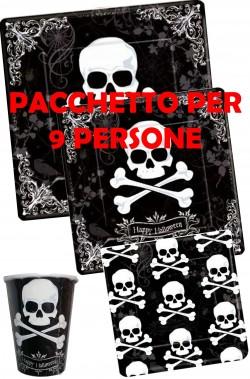 Halloween Party Jolly Roger pacchetto piatti e bicchieri 9 persone