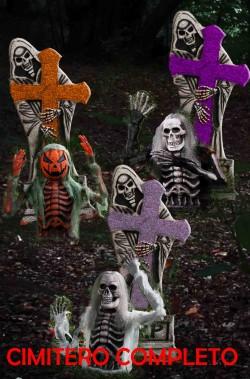 Decorazione da giardino Cimitero completo Halloween con tre personaggi