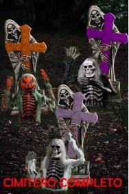 Allestimento decorazione da giardino Cimitero completo Halloween con tre personaggi