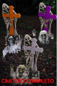 Addobbo decorazione Halloween esterno interno Cimitero completo lapidi e morti