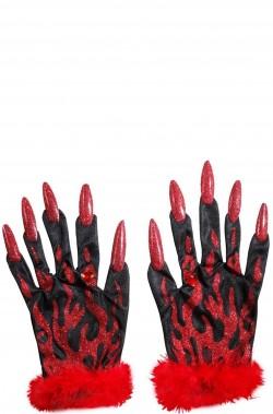 Guanti diavolo con unghie e glitter