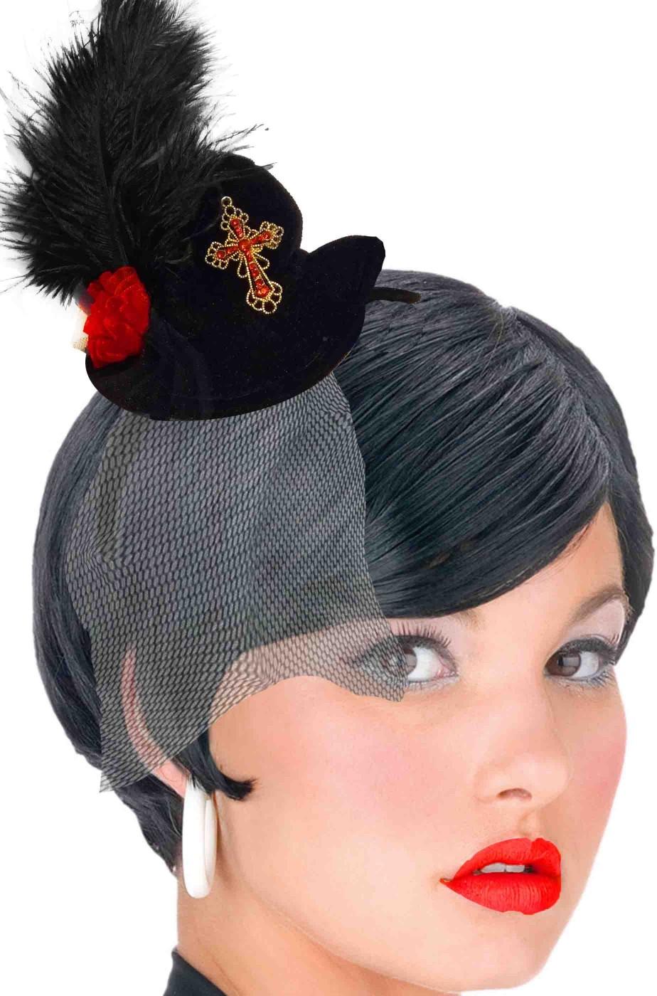 Cappello a cilindro nero cappellino da vampira burlesque su cerchietto