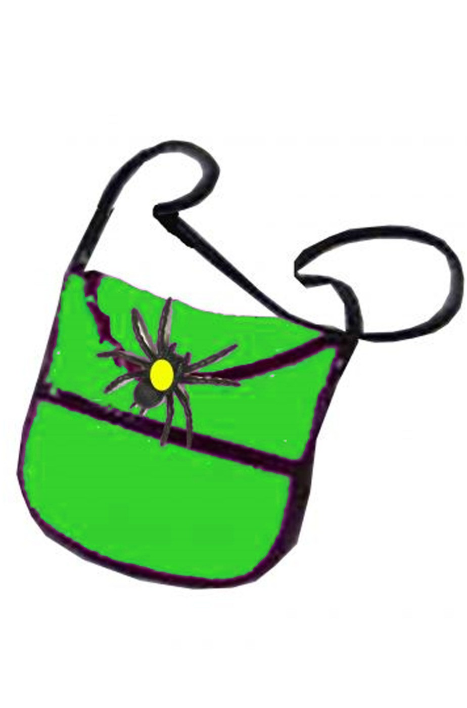 Borsa o borsetta da strega con ragno verde