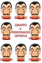 Gruppo di 8 maschere Salvator Dali della Casa di Carta Netflix adulto in plastica offerta
